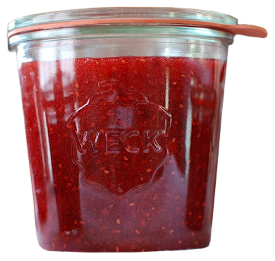 strawberry jam in a weck preserving jar