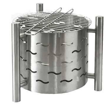 Stainless Steel Fire Pit with BBQ Grill