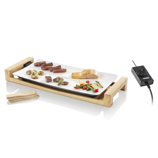 electric ceramic teppanyaki grill with bamboo stand. Black Bedroom Furniture Sets. Home Design Ideas