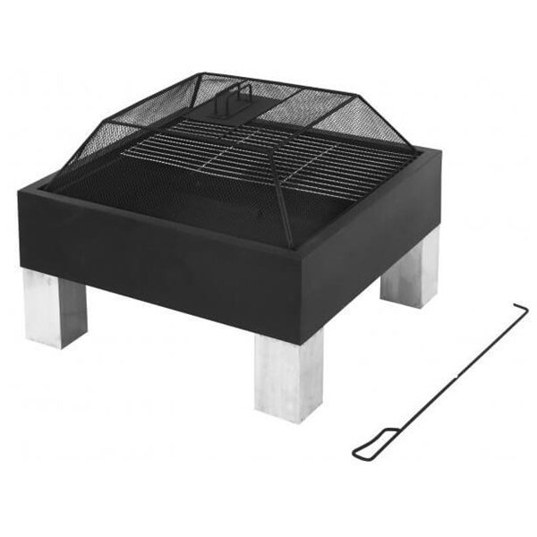 Square Modern Outdoor Fire Pit and BBQ Grill
