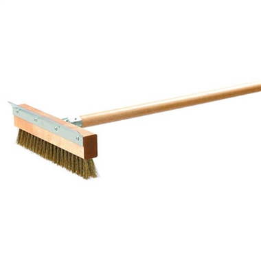 Pizza Oven Brush with Brass Bristles and Steel Scraper