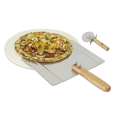Pizza Grilling Stone set with Peel and Pizza Cutter
