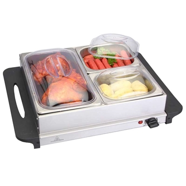 2 in 1 Stainless Steel Buffet Server and Warming Plate