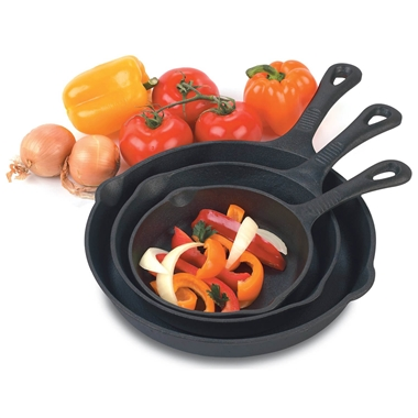 Set of 3 Pre-seasoned Cast Iron BBQ Skillet Pans