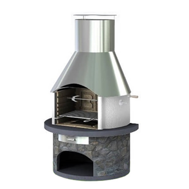 Rondo Masonry BBQ Grill with Steel Chimney
